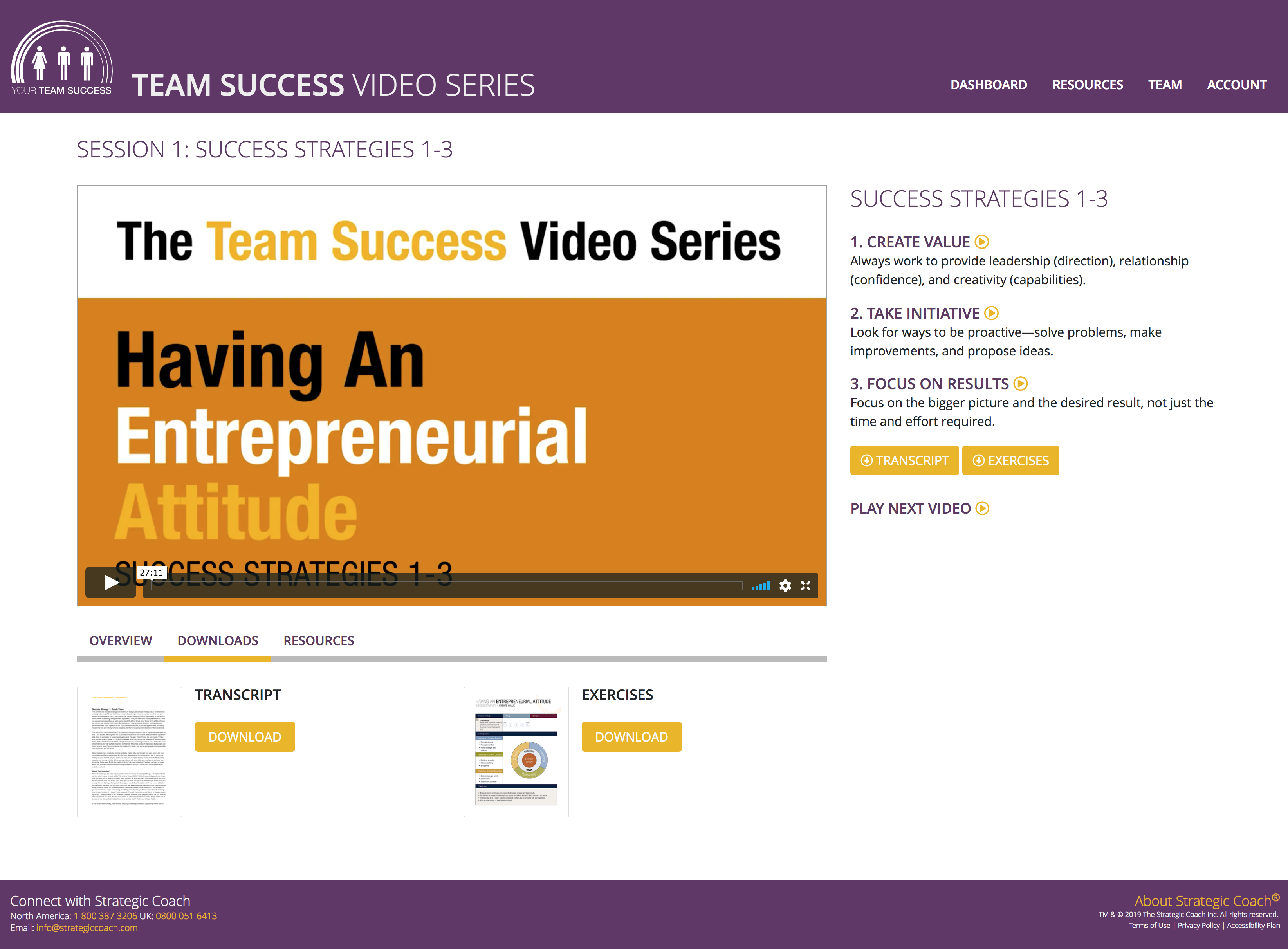 Team Success Video Series Classroom