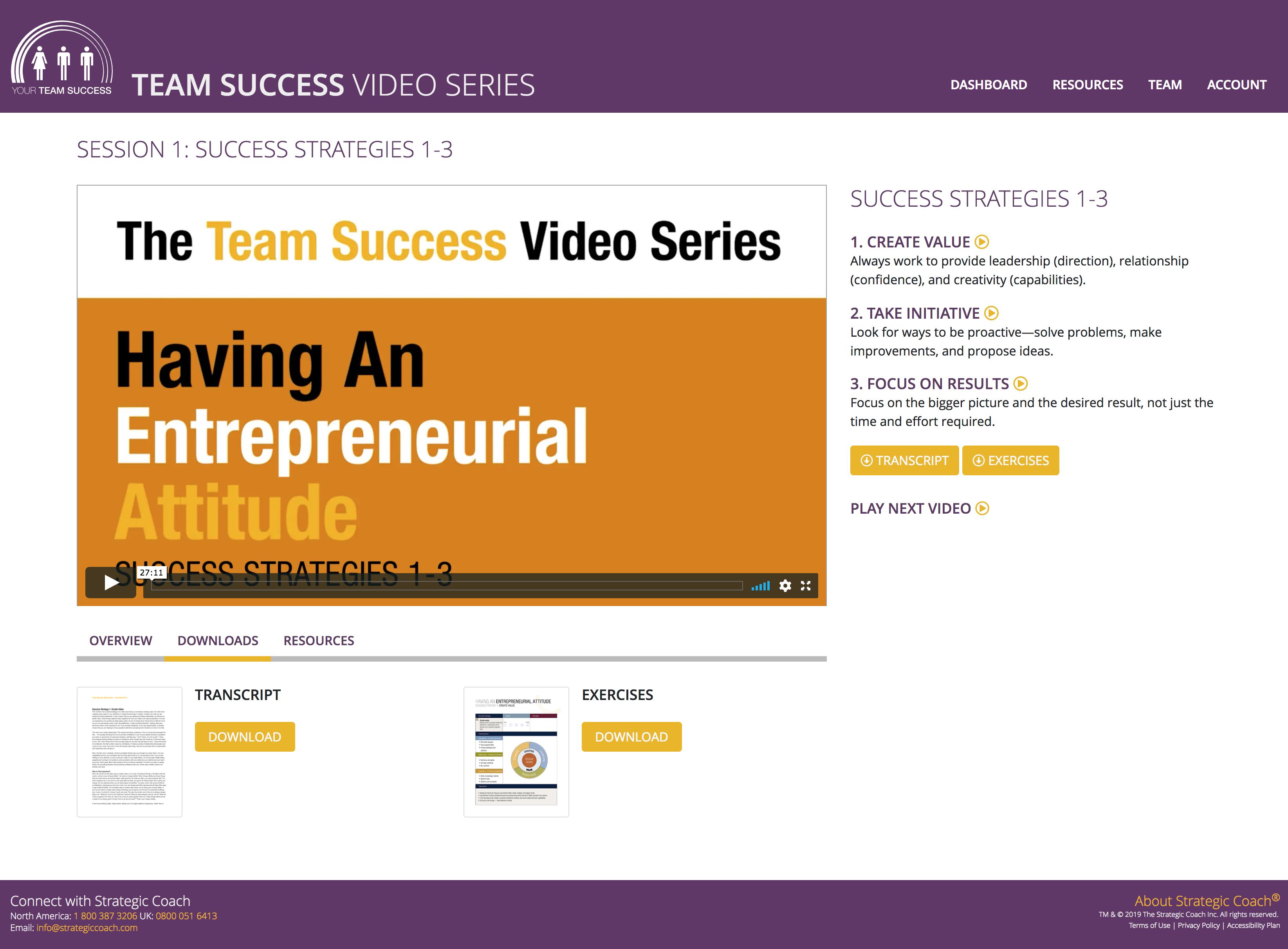 Team Success Video Series Classroom